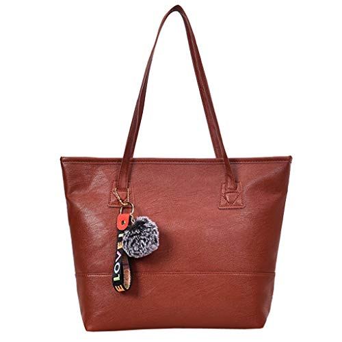 Bfmyxgs Mother es Day Hand Bag für Vintgae Frauen Leder Hairball Zipper Tote Solid Color Shoulder Bag Totes Handtasche Shoulder Bag Taschenrückpack Coin Bag. Brustpaket