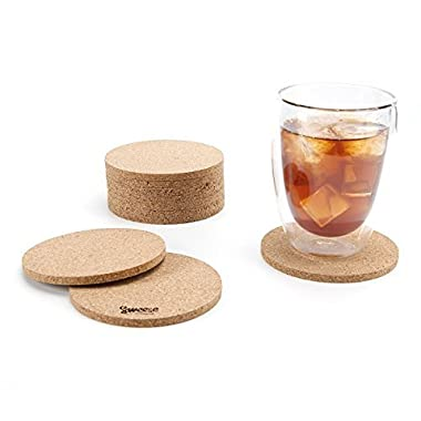 Sweese 3402 Cork Coasters - 4 Inches for Drinks - Set of 10, Round