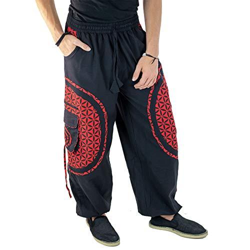 KUNST UND MAGIE Unisex Trendige Baggyhose Bunte Muster Lebensblume Goa Hippiehose, Größe:4XL, Farbe:Schwarz/Rot