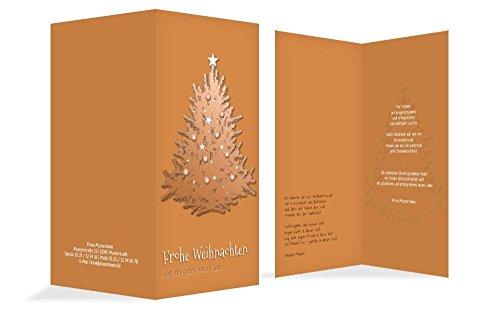 Weihnachtskarten: Weihnachtsgrußkarte Geschäftlich geschmückter Baum, hochwertige Grußkarte zu Weihnachten inklusive Umschläge | 15 Karten (Format: 210.00x215.00mm) Farbe: Orange