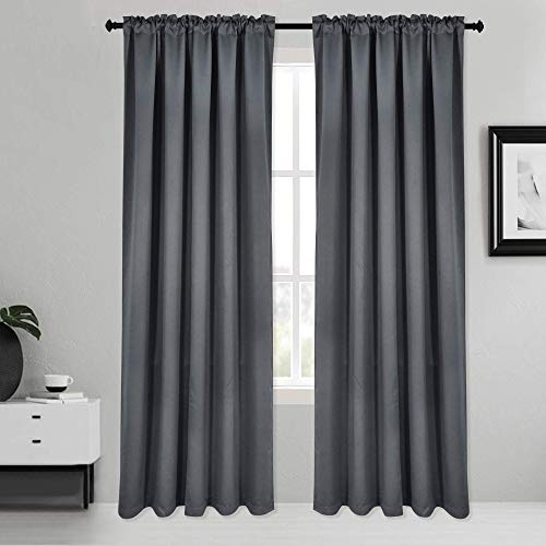 Inherent Flame Retardant Blackout Rod Pocket Curtains Fire Resistant Room Darkening Thermal Insulated Drapes for Bedroom Living Room School Office Nursery Theater Hospital 2 Pack Grey 38Wx72L