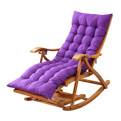 XEWNEGTZI Folding Deck Chair Bamboo Rocking Chair Adjustable Sun Lounger, With Cotton Pad And Retractable Footrest, Portable Outdoor Garden Balcony Recliner, Load 180kg(Color:Chair+purple cushion)