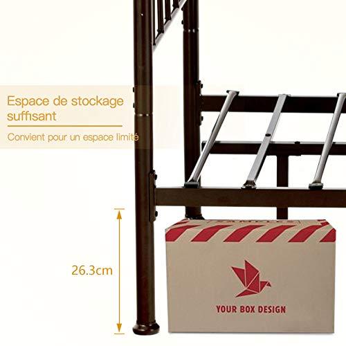 mecor Modern Cadre de lit en métal avec tête de lit incurvée lit Simple 90 x 200 cm Cadre de lit avec sommier à Lattes pour Chambre d'amis lit en Brun