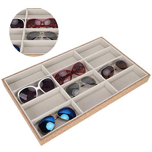 DAUERHAFT Scatola portaoggetti da 12 Bicchieri a griglia, Vassoio per Occhiali da Sole in Legno, portaoggetti per Occhiali, Adatto per Collezioni di mostre, Regali per Ragazze e Donne.