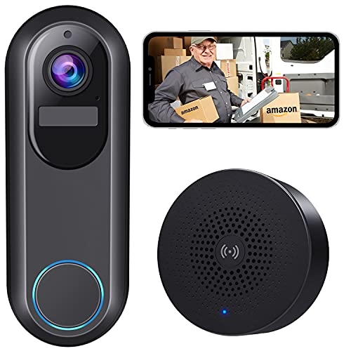 WiFi Video Doorbell Camera, Morecam Wireless Camera Doorbell with Chime,1080P HD, Motion Detection, Night Vision, 2-Way Audio, Cloud Storage, Easy Installation