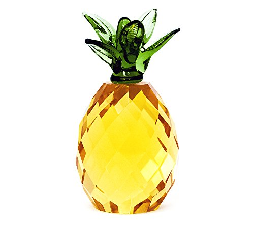 Pure Crystal Glass Gold Pineapple with Green Top Ornament by Happy Homewares