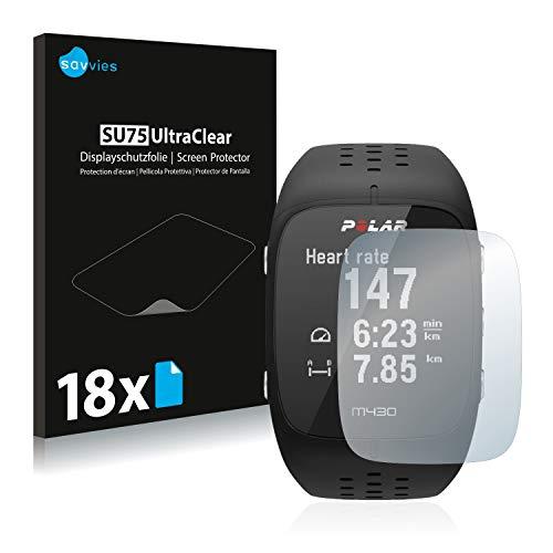 Savvies 18x Schutzfolie kompatibel mit Polar M430 Bildschirmschutz-Folie Ultra-transparent