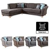 CAVADORE Ecksofa Gootlaand / Große Couch im Landhaus-Stil / Mit Federkern-Polsterung / 257 x 84 x...