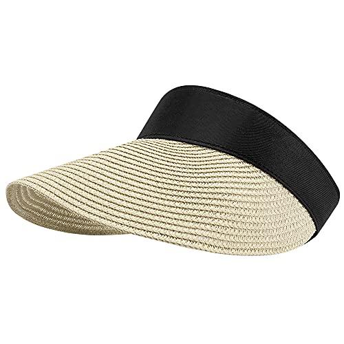 CARSA Women Straw Sun Visor Hat Wide Brim Summer UV Protection Beach Cap Foldable Sun Hat for Women (Beige-Empty top)