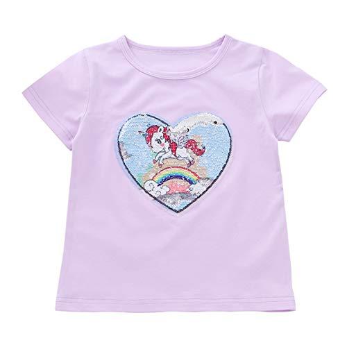 Mädchen T-Shirt Farbwechsel Pailletten Kurzarm Sommer New Shirt Cartoon Pony