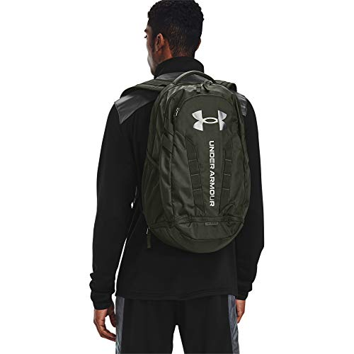 Under Armour Adult Hustle 5.0 Backpack , Baroque Green (312)/Black , One Size Fits All