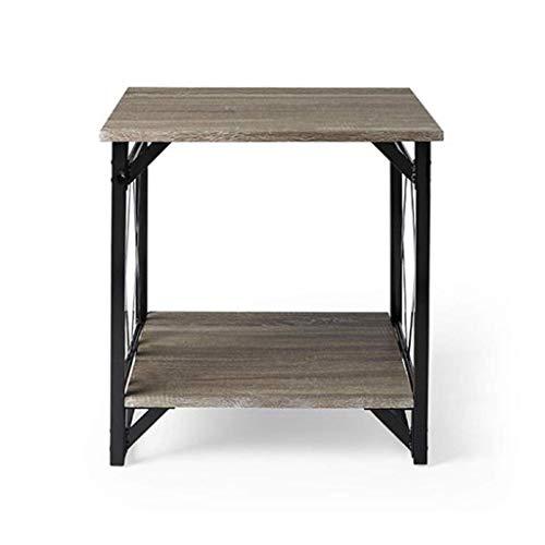 NSYNSY Tavolini da salotto, tavolino da caffè, gambe in Legno di quercia Naturale, divano da soggiorno, tavolo in Ferro battuto, Retro (dimensioni: 40 cm)