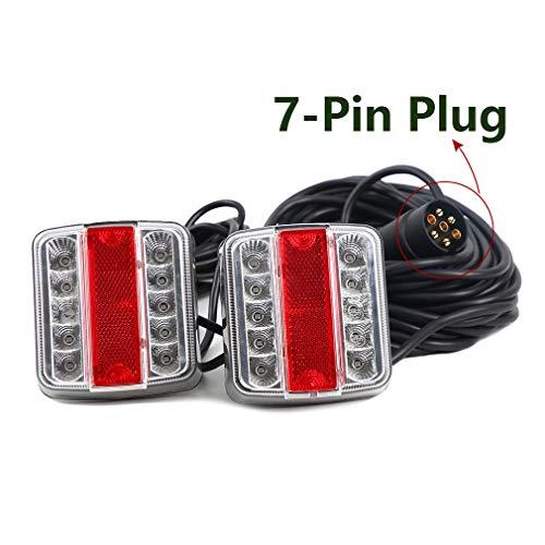 Hawkeye LED 12V Magneten Anhänger Beleuchtung Rücklicht Rückleuchten Kit mit 7,5m Kabel 7-poligem Stecker für LKW Van Caravan Agrarmaschinen(Weiß & rot- LED, Karton)