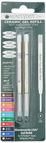 Monteverde Capless Ceramic Gel Purple Refill to Fit Parker Ballpoint Pens, Fine Point, 2/PK (P422PL)