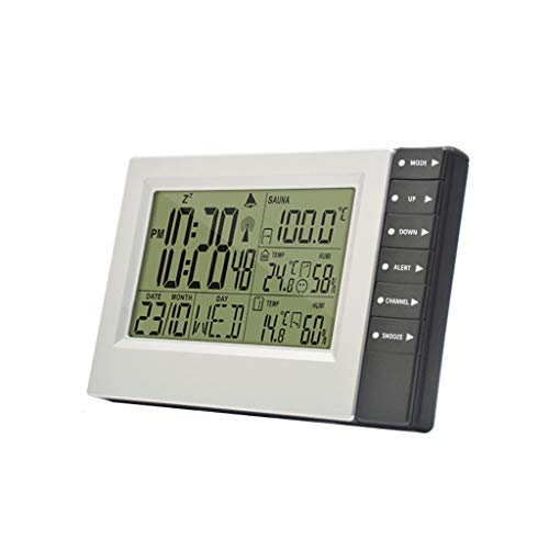 Queen Boutiques Wetterstation Digital-Wecker Innen- und Außenthermometer Hygrometer Sensor Display Kalender mit Wecker Snooze-Funktion (Color : Gray, Größe : 5.11 * 7.87 * 1.18in)