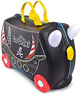 Trunki Original Kids Ride-On Suitcase and Carry-On Luggage - Pedro Pirate (Black)