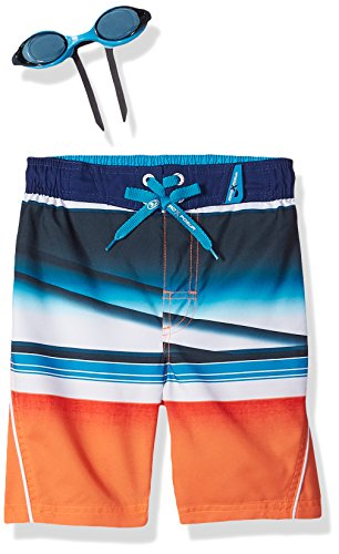ZeroXposur Boys' Little Whiplash Stripe Swim Trunk, Zinnia, S-4