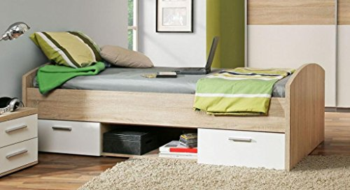 Jugendbett Winnie 90 x 200 cm mit 2 Schubladen - Sonoma Eiche / Weiss