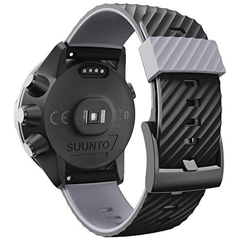 WIIKAI Armband Ersatzarmbänder kompatibel für suunto 7/9/9 baro/Spartan Sport/D5 Silikon Ersatz Uhrenarmbänder.(Schwarz + Grau)