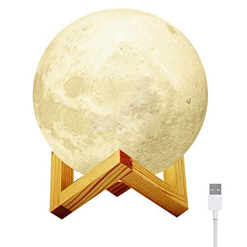 RBNANA Mondlampe, USB wiederaufladbar, 3D-Druck, Mondlicht, 7 Farben, Touch-Steuerung, Schlafzimmer-Nachtlicht mit Ständer, für Heimdekoration und Geschenke