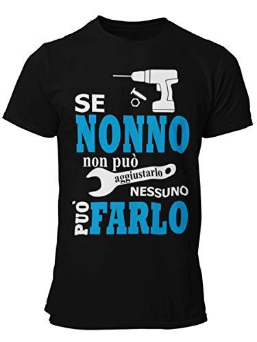 STAMPATEK – Camiseta para Abuelo – Idea Regalo para el Día de los Abuelos – Camiseta Divertida con Texto en inglés «Nonno Aggiusta Todo» Negra S