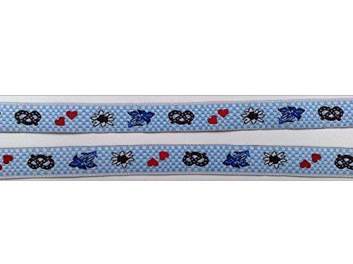 2 m Borte Trachten Wiesn Bordüre Zierband Webband Landhaus Dirndl 16 mm breit Farbe: weiß/hellblau/blau/rot/braun