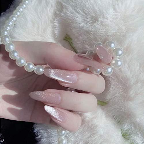 MISUD 24pcs Almond Fake Nails Cat Eye Effect Polish UV Gel Nail Galaxy False Nails Full Cover Acrylic Nails (Pink)