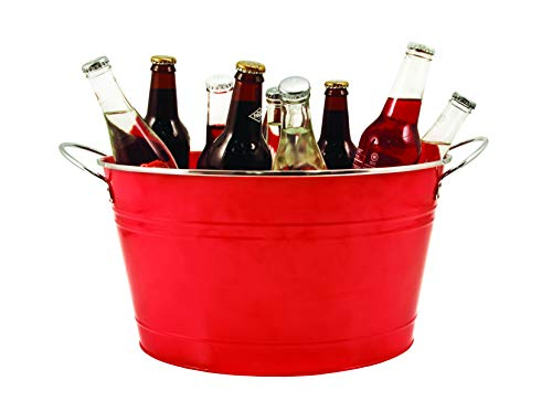 Twine Big Red Galvanized metal tub drink bucket, country home patio party decor and supplies, beverage holder, 4.5 gallon