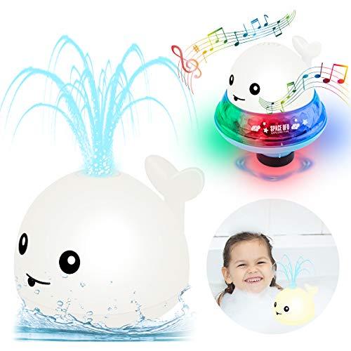 Seamuing Juguetes de Baño Para Bebés, 2 En 1 Baño de Agua de Aerosol de Juguete de Inducción Automática Ballena Rociador con Luz Led Juguete de Fuente Musical para Niños Bebé