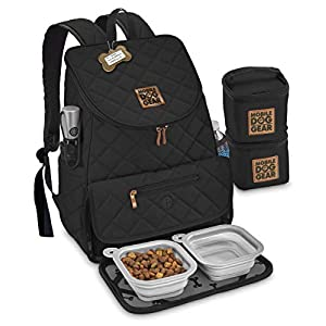 Mobile Dog Gear, Dog Travel Bag, Deluxe Quilted Weekender Backpack, Includes Lined Food Carriers and 2 Collapsible Dog Bowl