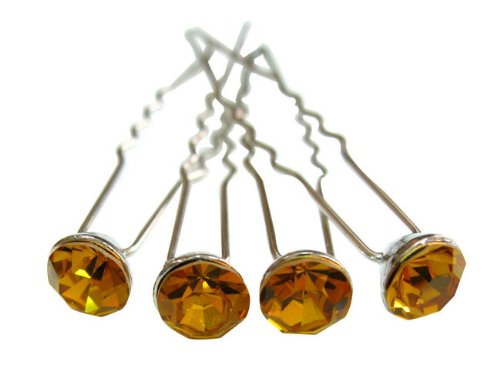 rougecaramel - Accessoires cheveux - Epingle cheveux cristal/pic à cheveux mariage lot de 4 pcs - topaz