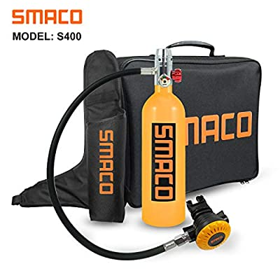 SMACO Scuba Tank Spare Air Diving Tank Mini Scuba Tank Scuba Cylinder with 15-20 Minutes Diving Oxygen Tank with Pump Breath Underwater Device?340 Breathe Times? S400 Dive Equipment Package B, Orange