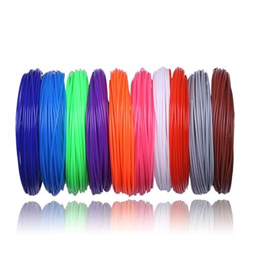 Filamento Pla 3D Penna PLA filamento 200 metri 20 colori 1.75mm fili di plastica Materiali 3 D stampante for la stampa 3D (Color : 50 Meter 5 Color, Size : A1)