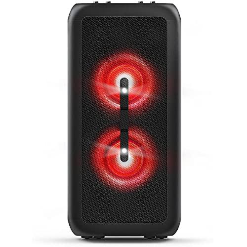 Party Speaker Philips bluetooth com 2 falantes, luzes de led, bluetooth, usb, auxiliar, entradas para microfone e guitarra e energia para 14h TANX200/78
