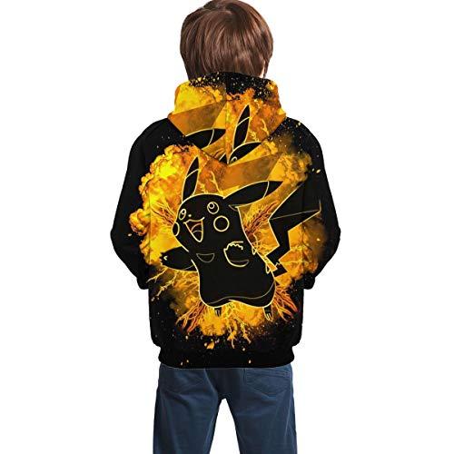 AnJaco Pokem Pikachu Graphic Hoodie Hooded For Teen Boys Girls Black