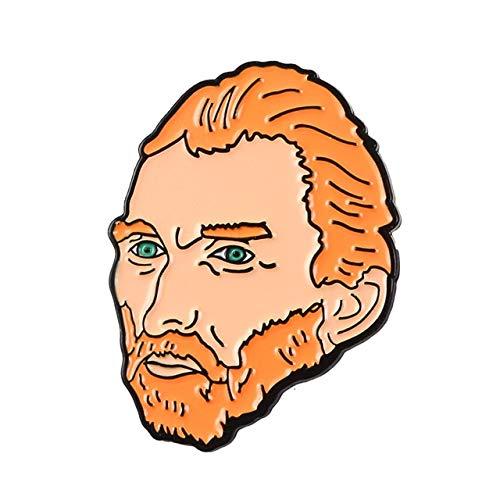 WEHONG Geisteswissenschaften Und Kunst Emaille Anstecknadeln Film Musik Malerei Skulptur Broschen Abzeichen Anstecknadeln Geschenke F¨¹r Freunde???Van Gogh