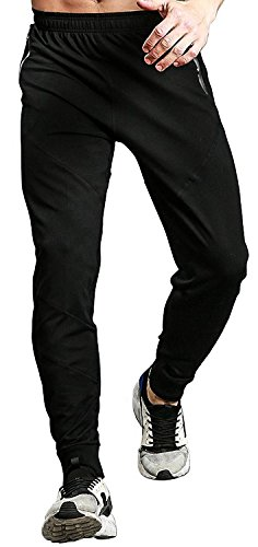 TBMPOY Men's Athletic Running Sport Jogger Pants with Zipper Pockets(Black,us L)