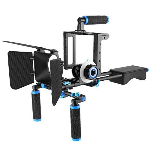 Neewer DSLR Movie Rig Aleación Aluminio para Reflex Digitales Canon Nikon Sony (1) Jaula Fotográfica (1) Mango Superior (2) Palo 15mm (1) Matte Box(1) Follow Focus (1) Estabilizador Hombro Azul