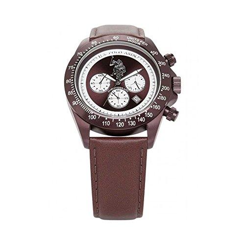 U.S.POLO ASSN. Herren Analog Quarz Uhr mit Leder Armband USP4059BR