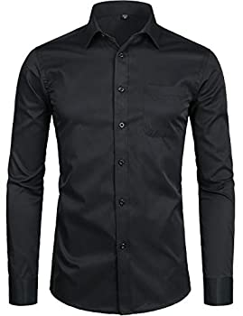 ZEROYAA Men s Long Sleeve Dress Shirt Solid Slim Fit Casual Business Formal Button Up Shirts with Pocket ZSSCL01 Black Small