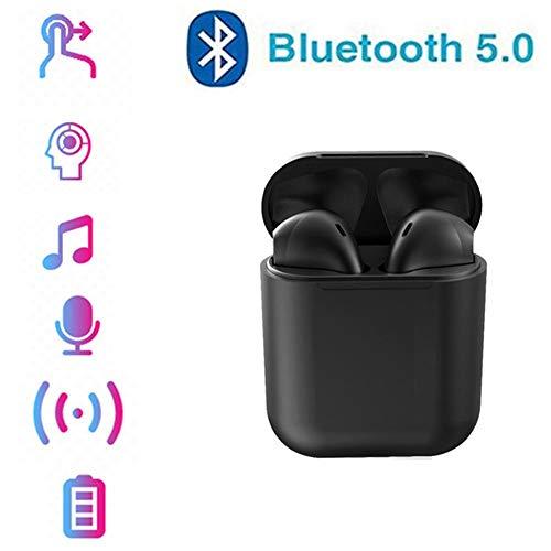 LZ Auriculares Bluetooth 5.0 Auriculares Inalámbricos Sonido Estéreo In-Ear Sport Auricular con Mic para iPhone Android y PC,Negro