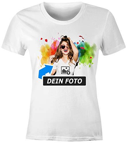 SpecialMe® personalisierbares Damen T-Shirt mit Foto Text, T-Shirt selbst gestalten & Bedrucken Lassen Foto-Geschenk Damen weiß M