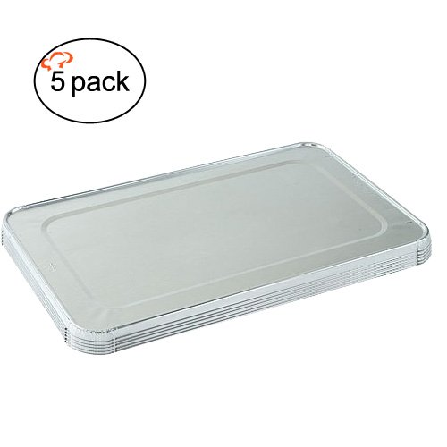 Tiger Chef 5-Pack Durable Aluminum Foil Steam Table Pans Full Size Lids, Disposable 21 x 13 inches