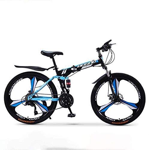 WLGQ Bicicleta de montaña Bicicletas Plegables, Bicicletas de Carretera, Freno de Disco Doble de 27 velocidades, suspensión Completa, Antideslizante, Bicicletas de Carrera de Velocidad Variable t
