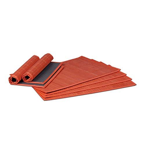 Relaxdays Tischset 6 teilig, Platzdeckchen, Bambus, rutschhemmende Unterseite, 30 x 45 cm, 6er Platzset, 6 Tischmatten, abwischbar, rot