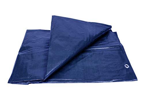 Lona Impermeable Premium Reforzada (2 x 3 m) con Ojales de Acero Inoxidable. - Para Leña y Objetos de Jardín, Vehículos, Protección contra UV. Color Azul