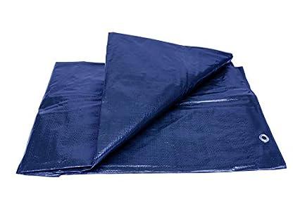 Lona Impermeable Reforzada (2 x 3 m) con Ojales de Acero Inoxidable. - Para Leña y Objetos de Jardín, Vehículos, Protección contra UV. Color Azul