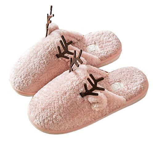 FHKBB Zapatillas de Navidad para Mujer, Zapatillas de casa cálidas de Invierno con Bonito diseño de asta, Zapatos de Piso de Felpa Antideslizantes para los Amantes de Las niñas, dormitor