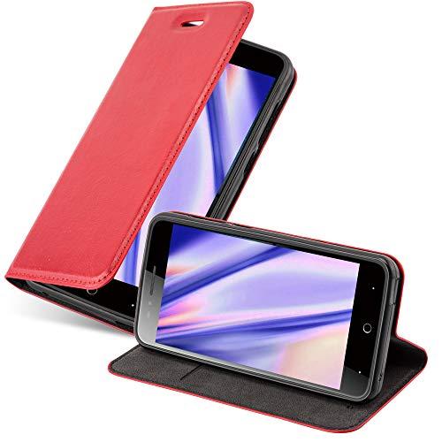 Cadorabo Hülle für ZTE Blade A612 in Apfel ROT - Handyhülle mit Magnetverschluss, Standfunktion und Kartenfach - Case Cover Schutzhülle Etui Tasche Book Klapp Style