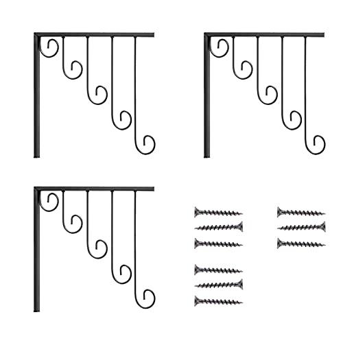 Amusingtao Perchero de metal para colgar en la pared, 3 piezas, con 5 anillos para colgar ropa, resistente, con gancho para baño, dormitorio, con tornillos